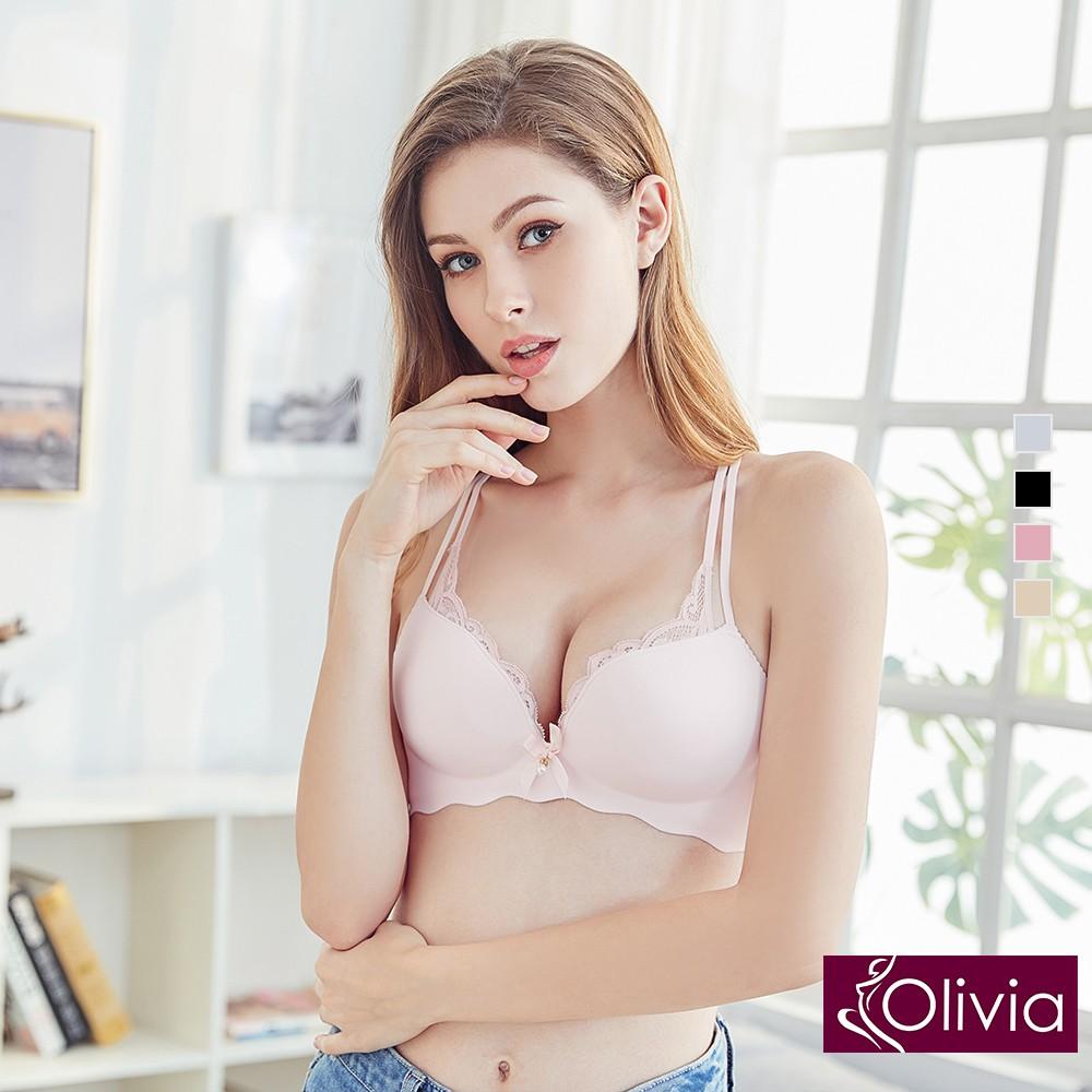 Olivia 無鋼圈完美甜心集中爆乳厚墊內衣-粉色 廠商直送 現貨