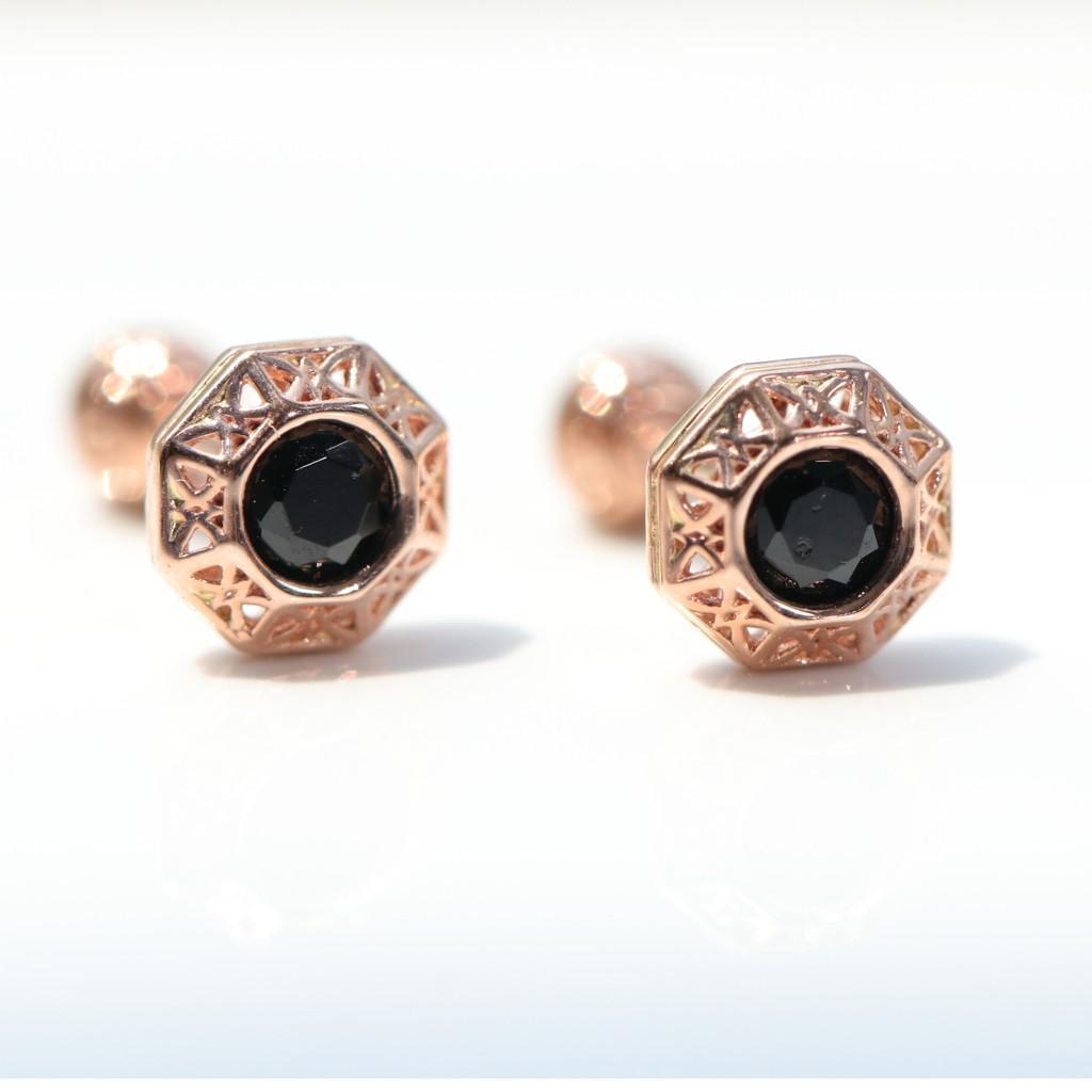 14K Hexagon Black CZ Piercing 六邊形鎖珠耳環(單個)