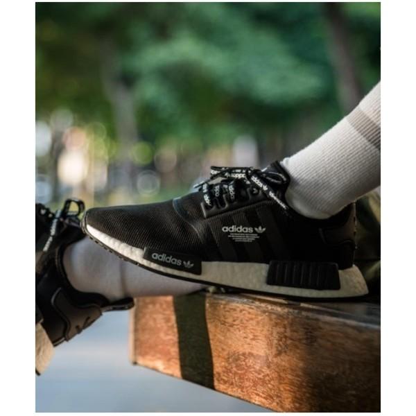 newest 54fc6 6e207 【LongLeg】Adidas Originals NMD R1 全黑 黑白 黑魂 滿版 側面 LOGO F99711