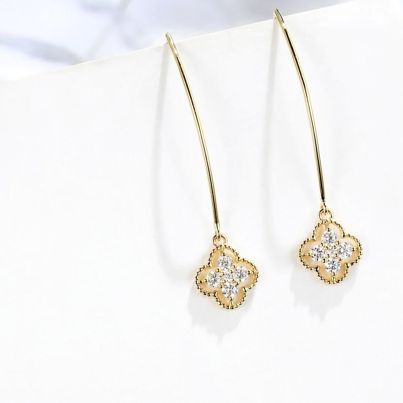 【巧品珠寶】18K 小清新優雅四葉草 造型 設計款 鑽石耳環