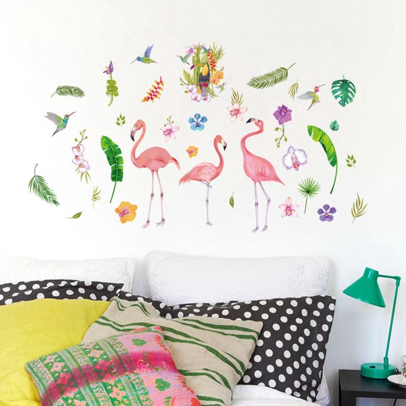【Zooyoo壁貼】現貨秒發!北歐家居牆壁裝飾壁貼畫 ins風少女心宿舍裝扮貼紙 綠叶火烈鳥壁貼