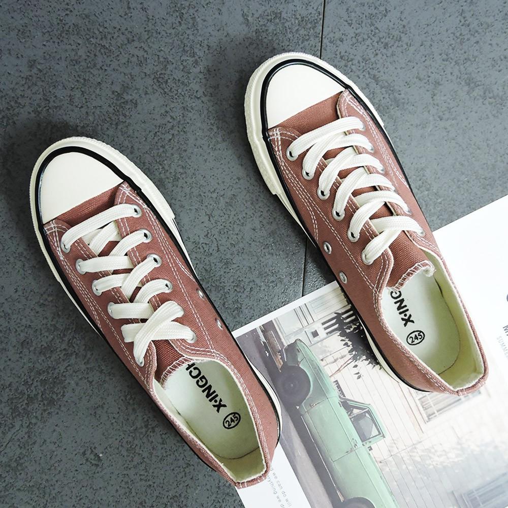 X-INGCHI 女款基本款豆沙粉低筒帆布鞋-NO.X0007