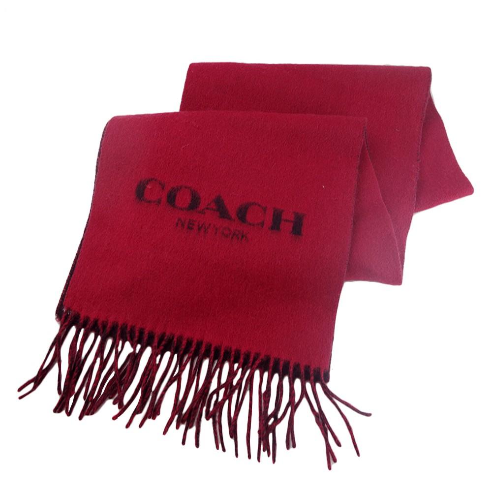 COACH 雙面用流蘇羊毛圍巾-紅色/咖啡色
