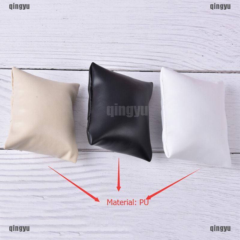 QYMY 1pc天鵝絨PU棉手錶枕頭珠寶展示盒架主辦單位