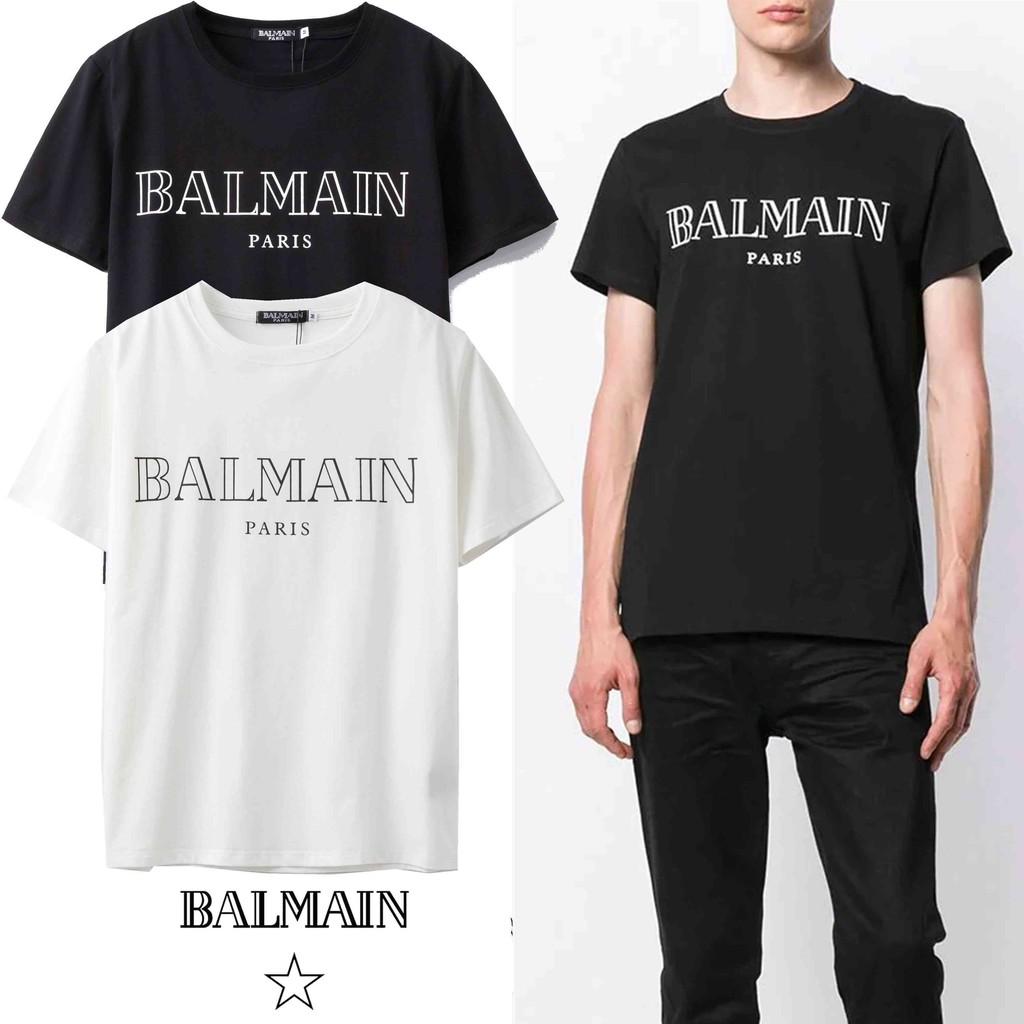BALMAIN 新款微標印花純棉圓領男生寬鬆短袖T恤 女生T恤 情侶百搭款 時尚男女上衣 打底衫 潮流T恤
