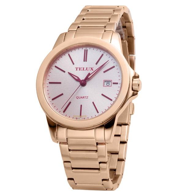 台灣品牌手錶腕錶【TELUX鐵力士】微光系列女腕錶手錶-40mm台灣製造石英錶7002GRG-PINK粉紅面玫瑰金剛帶