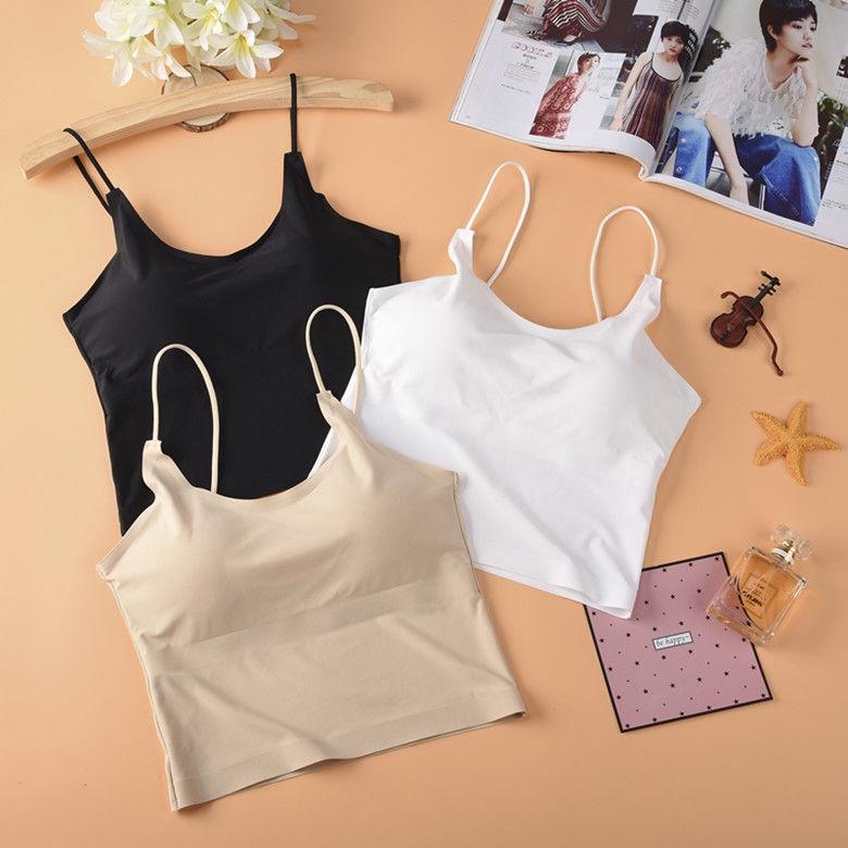 [現貨] 夏季新款純色冰絲美背無袖背心吊帶上衣女內搭外穿打底衫小背心