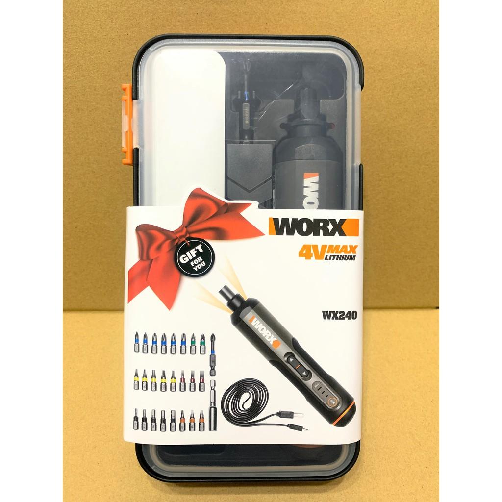 [聊聊優惠價] WORX 威克士 WX240 4V 電動螺絲起子 附26件套組 三段扭力 LED燈