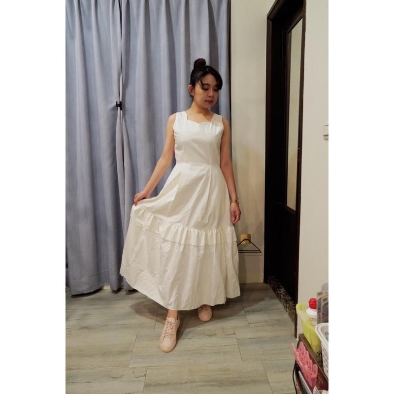 韓貨 二手 無袖白色洋裝 輕婚紗