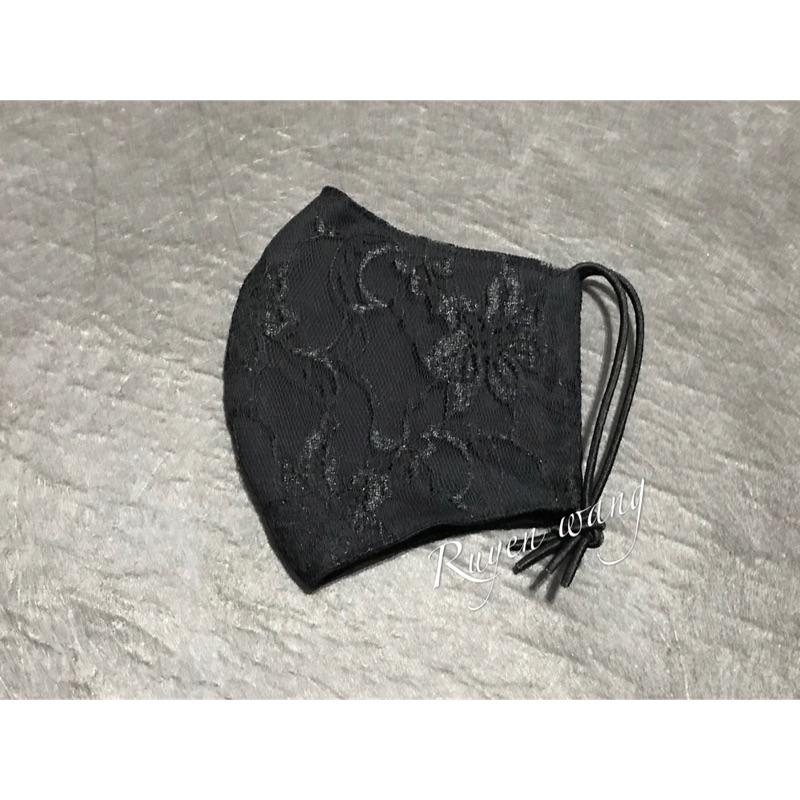黑色蕾絲兩用口罩(花為直向)