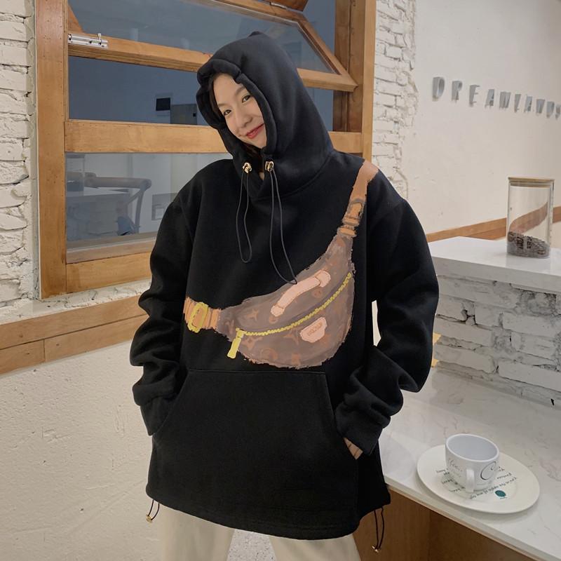 【免運】時尚個性包包印花原宿港風衛衣 長袖連帽衛衣女寬鬆中長款韓版加厚學生上衣外套