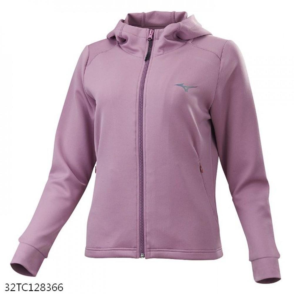 MIZUNO 女裝 外套 連帽 針織 套裝 抗紫外線 彈性 拉鍊口袋 沙漠玫瑰【運動世界】32TC128366
