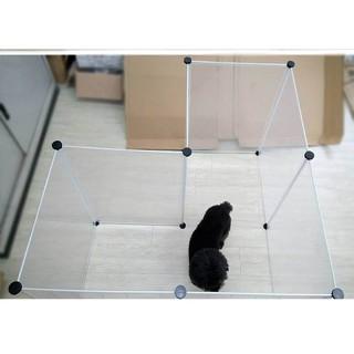 加寬款 寵物圍欄(7片透明圍欄+鐵門框一片/ 送卡扣+固定束帶)寵物籠 多功能透明圍片可擴充加頂蓋 狗屋 兔籠 貓籠 高雄市