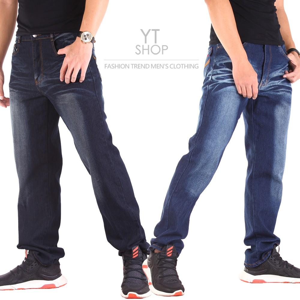 YT SHOP 刺繡刷色牛仔褲 伸縮中直筒 兩色