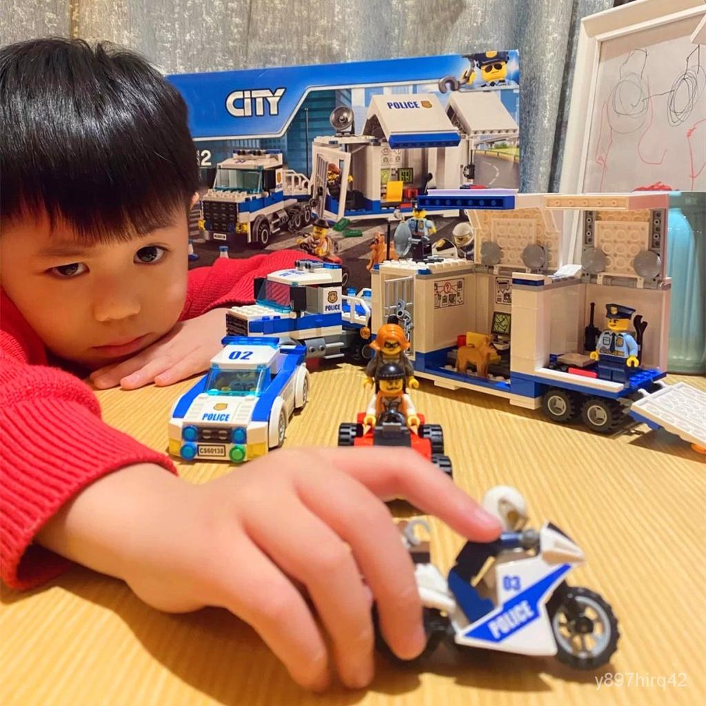移動指揮中心樂高拼裝積木男孩子城市警局系列警察局警車兒童玩具 2quU