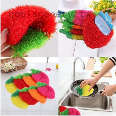 熱銷韓國創意 加厚不沾油 草莓造型洗碗巾 菜瓜布 洗碗布 絲光手勾  手工刮花 可掛 草莓 洗碗巾