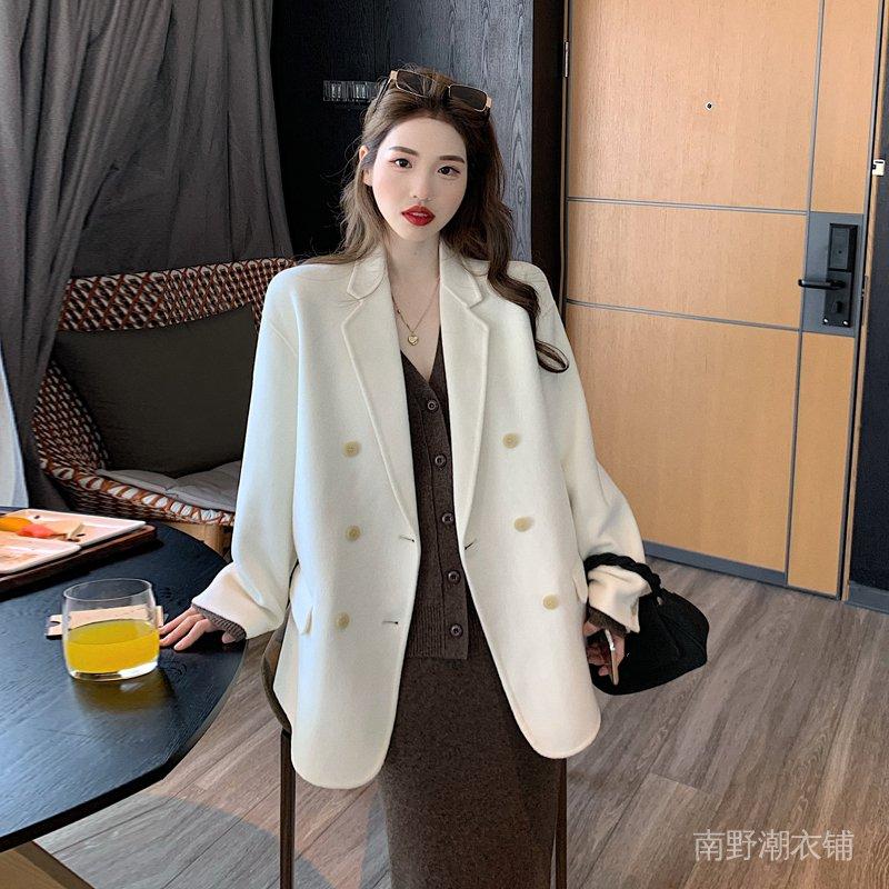 炸街加厚西裝外套女冬季新款韓版氣質中長款呢子大衣小西服潮