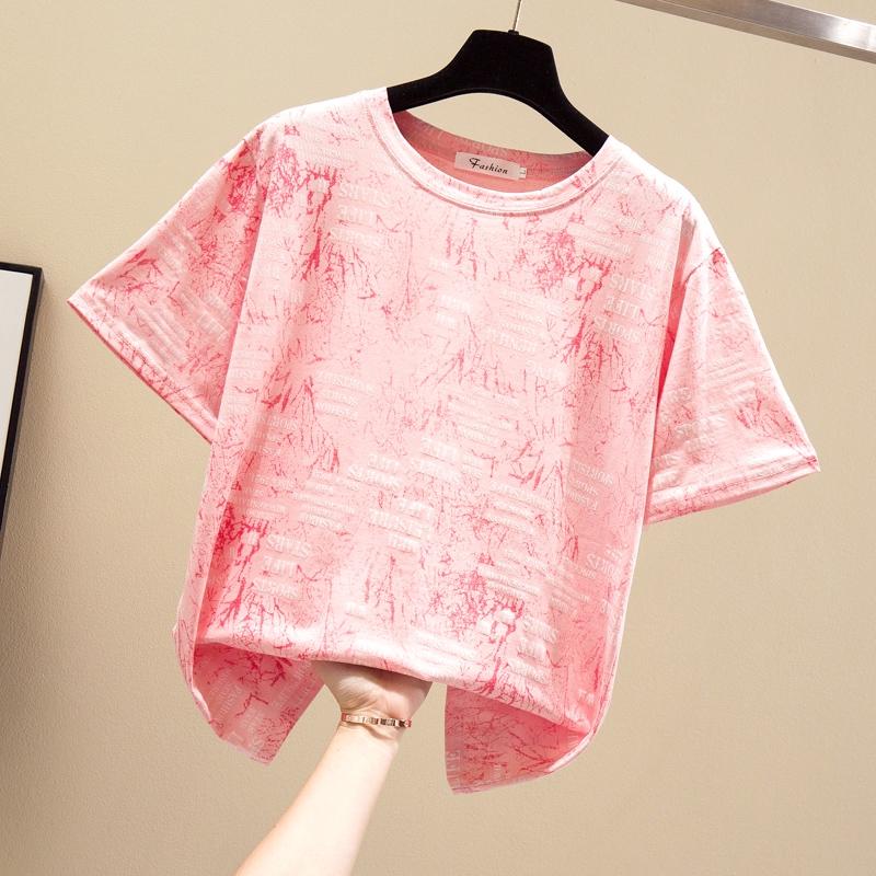 M-4XL大尺碼衣著 夏季新款t恤女胖mm200斤寬鬆顯瘦短袖上衣汗衫女潮