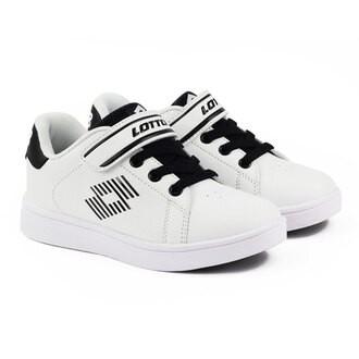英德鞋坊~義大利第一品牌-LOTTO 童款1973 經典網球鞋 [6988] 白黑特價398元