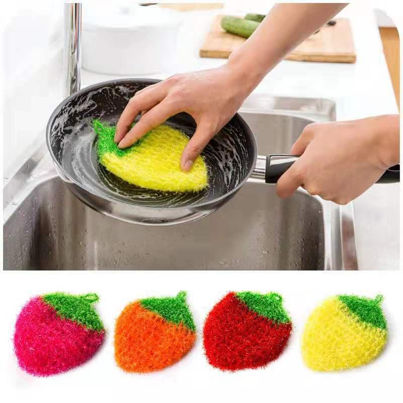 廠家現貨批發 韓國亞克力洗碗巾不粘油鉤花絲光草莓刷碗巾洗碗布