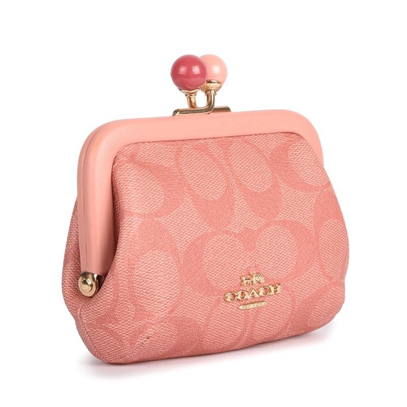 (完售)限量美國🇺🇸COACH kisslock 滿logo糖果粉 珊瑚粉C Logo雙色吻鎖包💋珠扣零錢包珠釦包手拿包