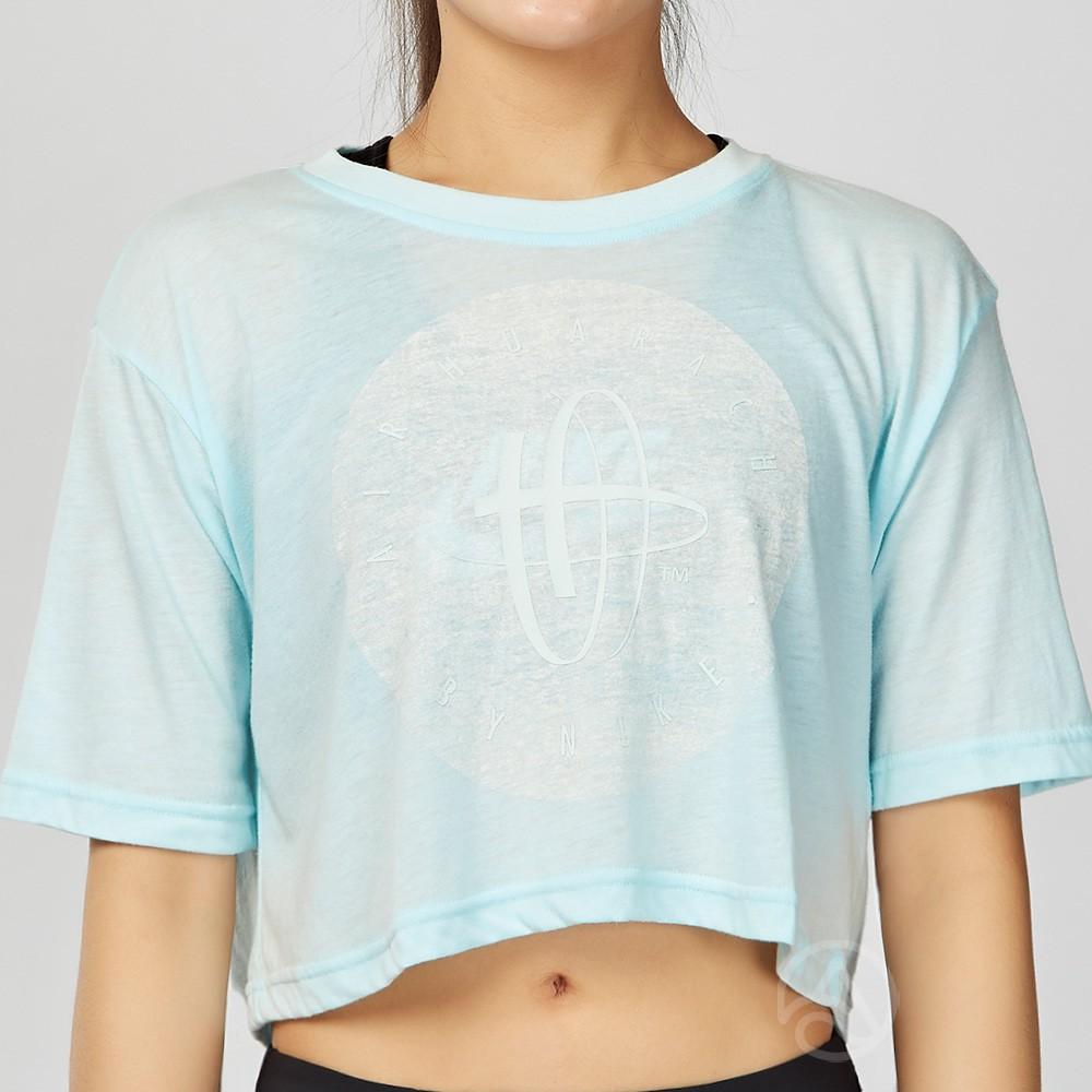 Nike Sportswear Tee Huarache 女子 淺藍 短版 休閒 短袖上衣 846467411