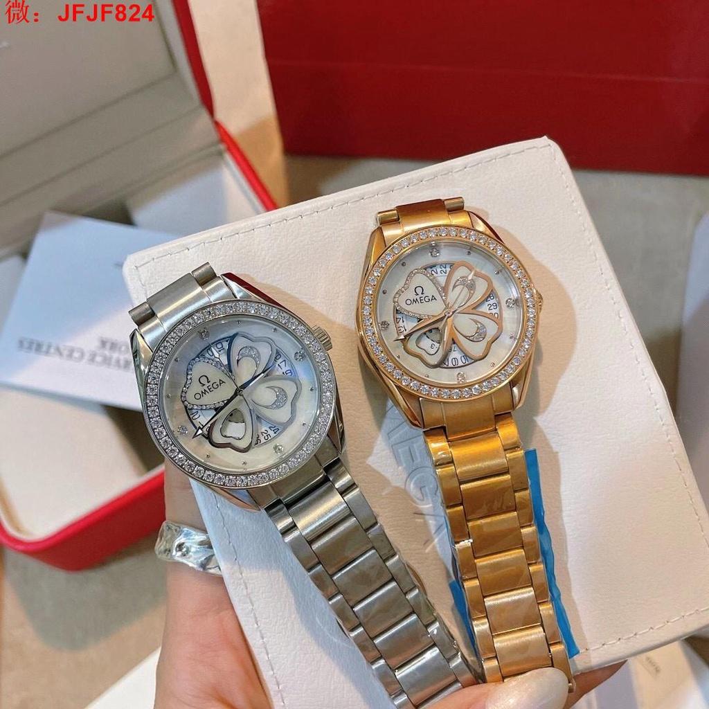 【二手正品】歐米茄-OMEGA  女裝石英腕錶 進口石英原裝機芯  316L精鋼殼套簡約 手錶  女錶 141481