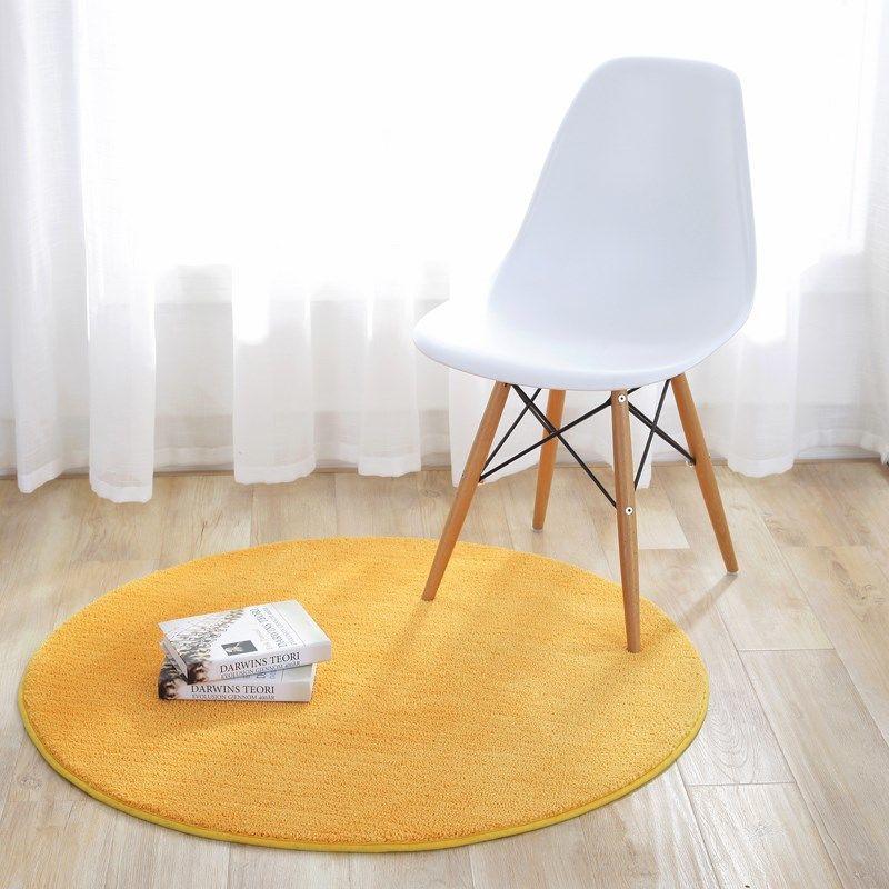☀新款熱銷☀金黃色圓形防滑吊籃地墊風水門墊定做長方形臥室床邊地毯茶幾墊子ins圓形地毯客廳臥室衣帽間腦椅吊籃 穿衣鏡拍照