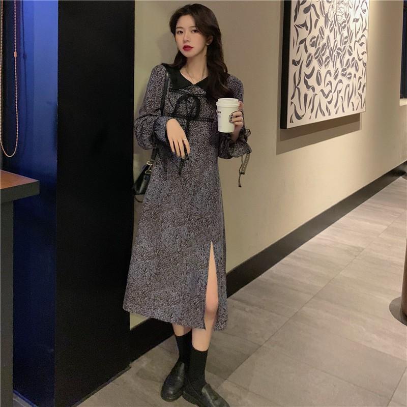 【熱賣】M-4XL【特價】大碼洋裝 2021春季新款胖MM 蕾絲復古碎花小心機開叉連衣裙洋裝 正韓洋裝