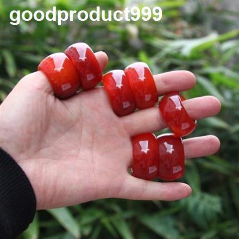 現貨♘☽南紅玉石戒指紅瑪瑙寬條指環男女玉扳指水晶玉髓飾品玉指環