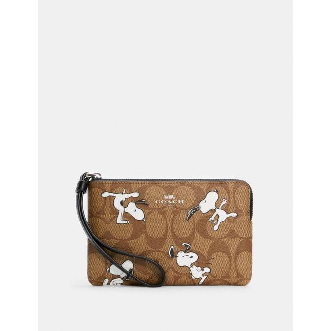 咩兒美國代購🌈Coach x Peanut 史努比/糊塗塔克 Snoopy 防刮皮革 單層手拿包