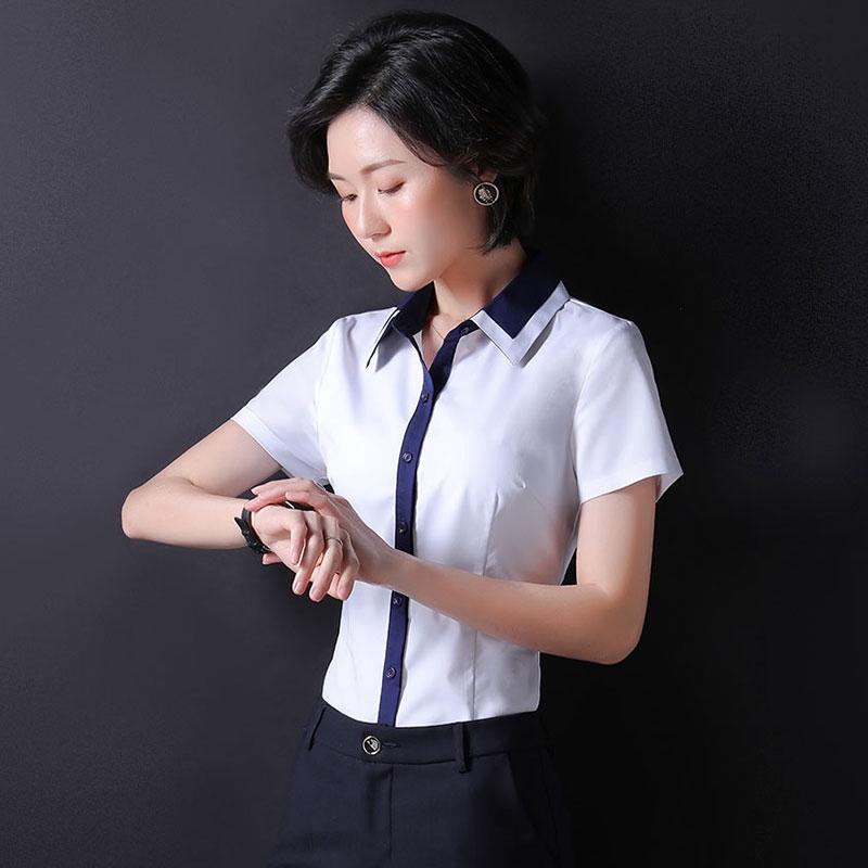 職業白襯衫女夏短袖薄款氣質正裝工裝工作服修身顯瘦方領時尚襯衣
