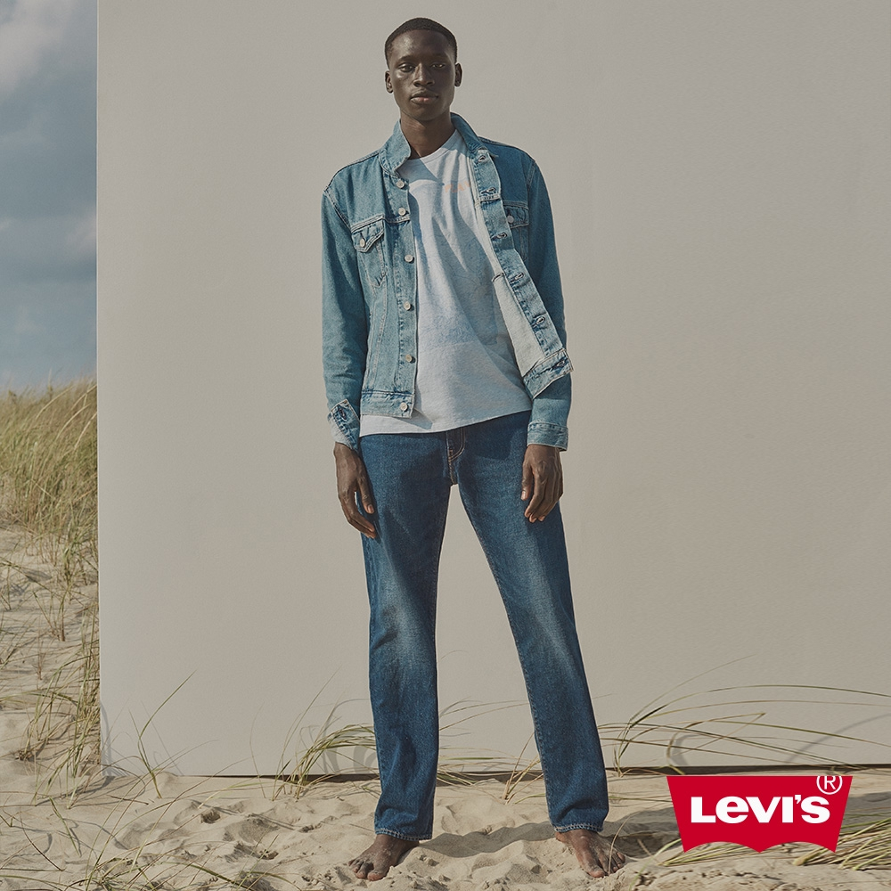 Levis 環境友善系列 551Z復古直筒牛仔褲 / 棉化寒麻纖維 / 深藍微刷白 男-人氣新品 35585-0014