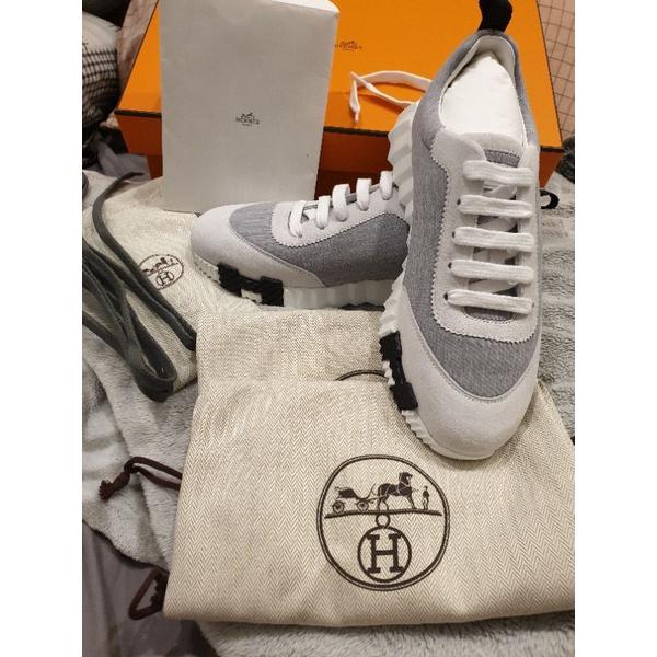 Hermes Bouncing Sneaker灰底H logo休閒運動鞋