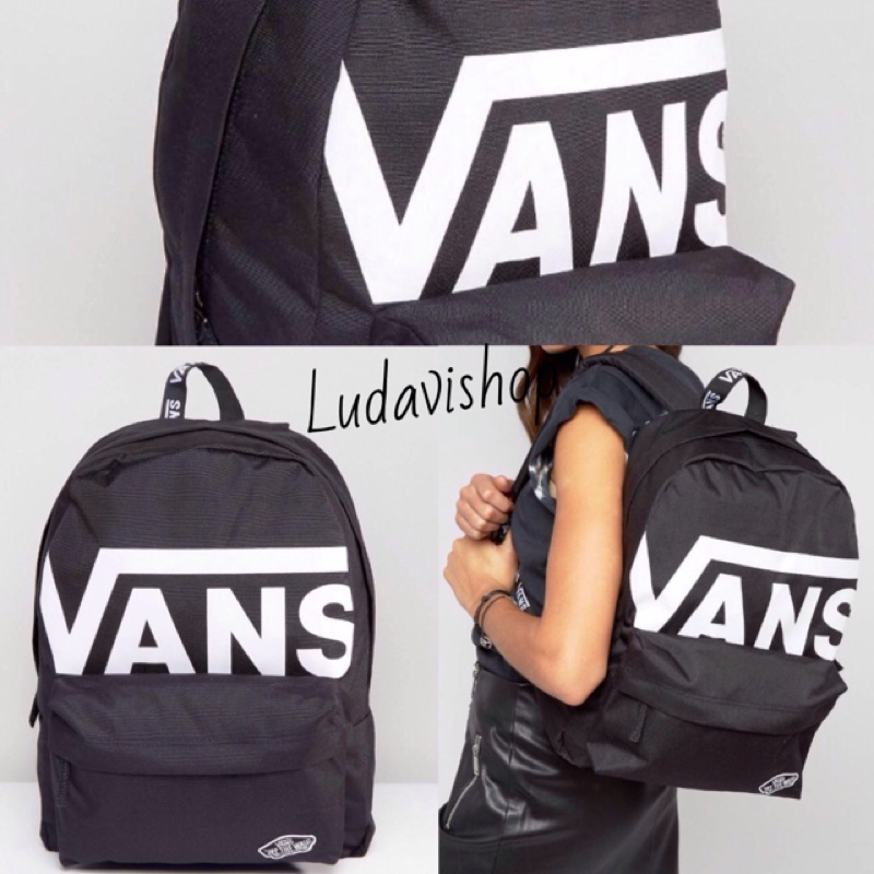 Vans bag black 黑 logo 白 後背包 上課包 潮流包 滑板包