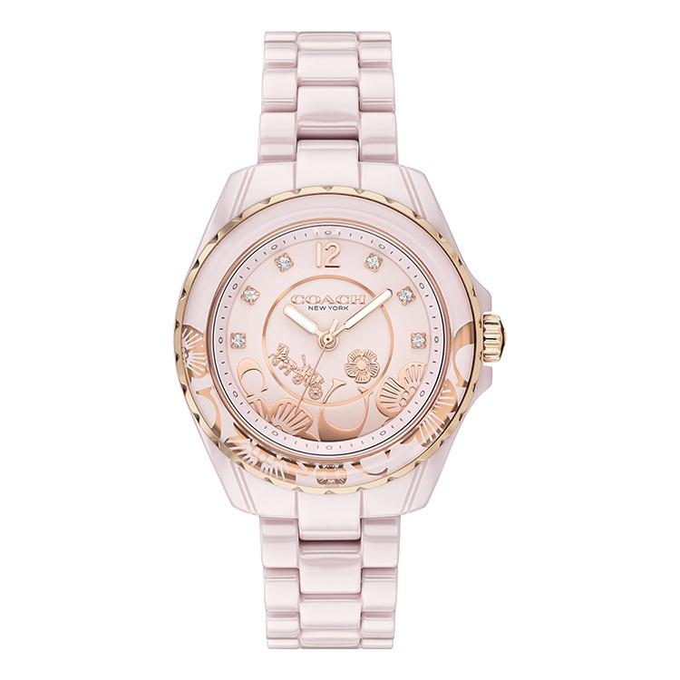 COACH | 小香風水鑽 茶花時尚精品陶瓷腕錶 - 粉 / CO14503465