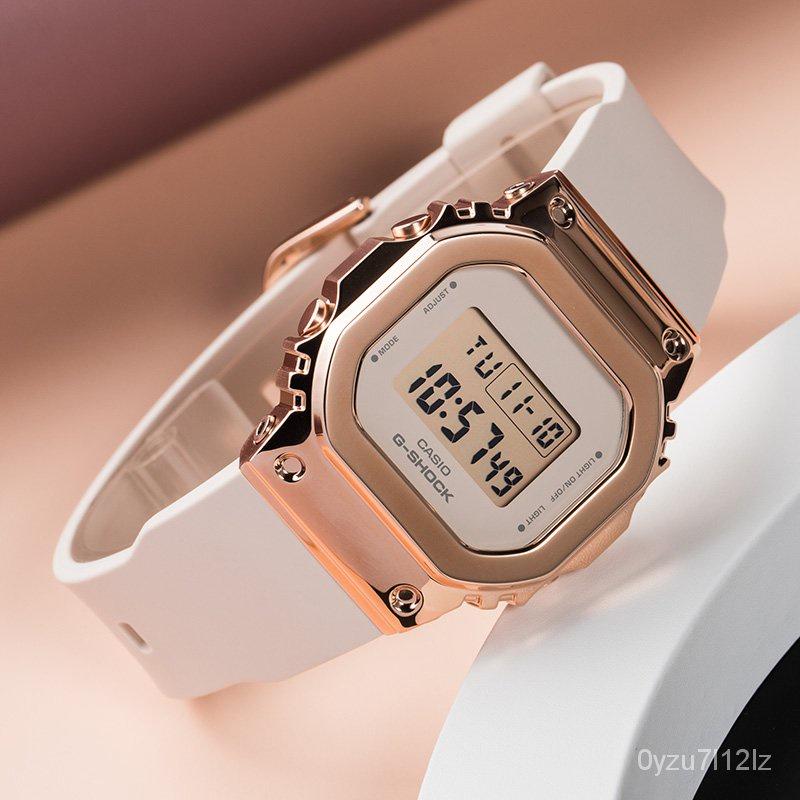 新款卡西歐金屬錶殼G-SHOCK玫瑰金經典小方塊casio手錶女GM-S5600PG-4 hr9o