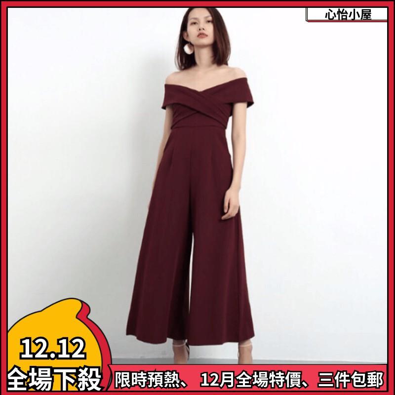 年關巨獻宴會禮服 喜酒 謝師宴一字領連身褲 寬褲 婚禮洋裝 紅色洋裝 長洋裝 連身寬褲 蕾絲洋裝