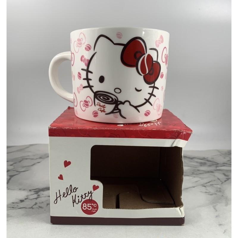 【貳扌殿】杯子/馬克杯/水杯-三麗鷗 Hello Kitty 85度c  凱蒂貓 附紙盒外盒邊角壓盒痕跡 杯底有使用痕跡
