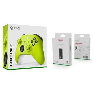 [玩樂館]全新 現貨 組合方案 微軟 Xbox無線控制器 電擊黃+PG-XB1006 無線接收器 FOR PC接收器