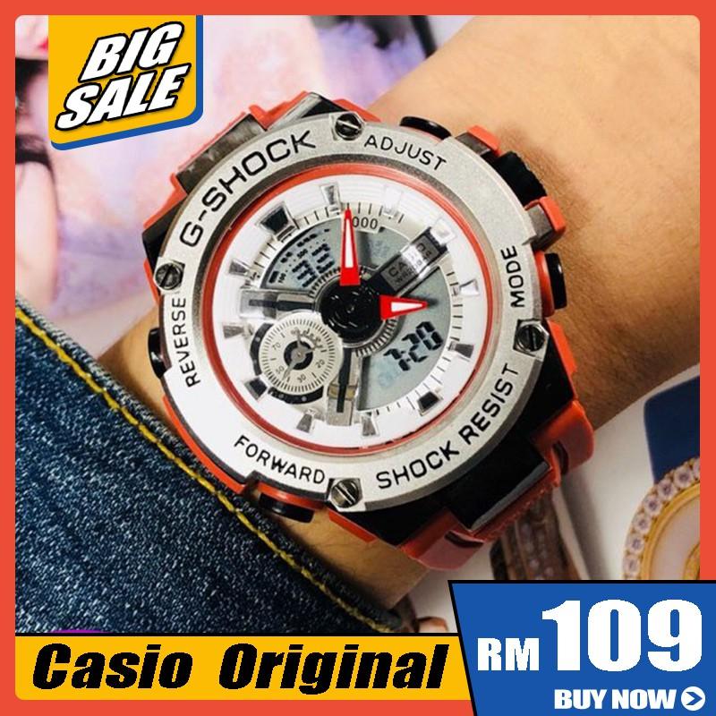 卡西歐T400運動手錶數字手錶橙色模擬圓形正品原裝
