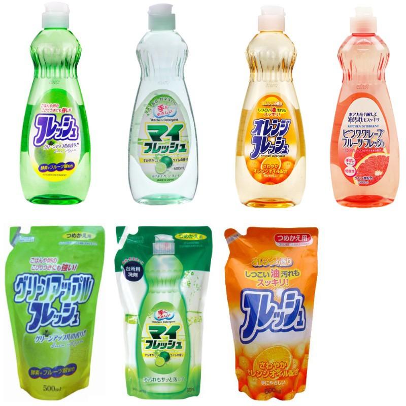 現貨☛日本 火箭石鹼 蔬果碗盤洗碗精 600ml 溫和護手 碗盤 洗潔精 去除油汙 低泡易沖洗【魔女美妝】