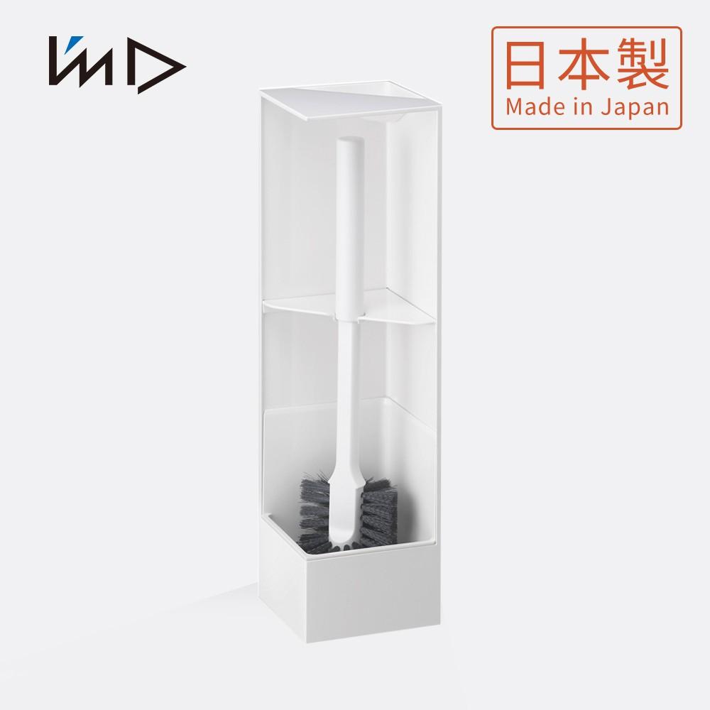 【日本岩谷Iwatani】RETTO直角/轉角隱藏式馬桶刷架2件組-1架1硬毛刷-3色可選