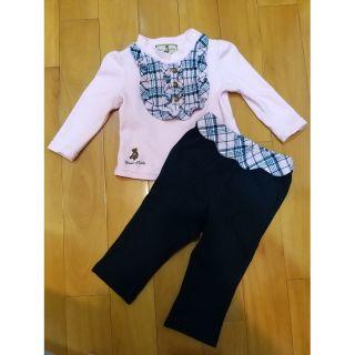 泰迪熊Classic Bear 經典格紋粉色女童長袖上衣+長褲成套合售 80cm 桃園市
