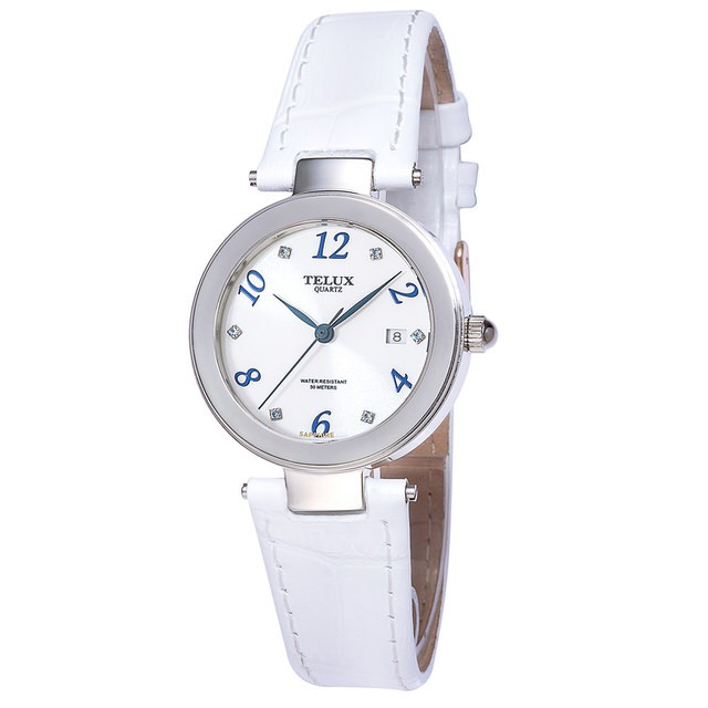 [缺貨中]台灣品牌手錶腕錶【TELUX鐵力士】煥彩女神腕錶 30MM台灣製造石英錶7771W-W20-P白面白皮帶