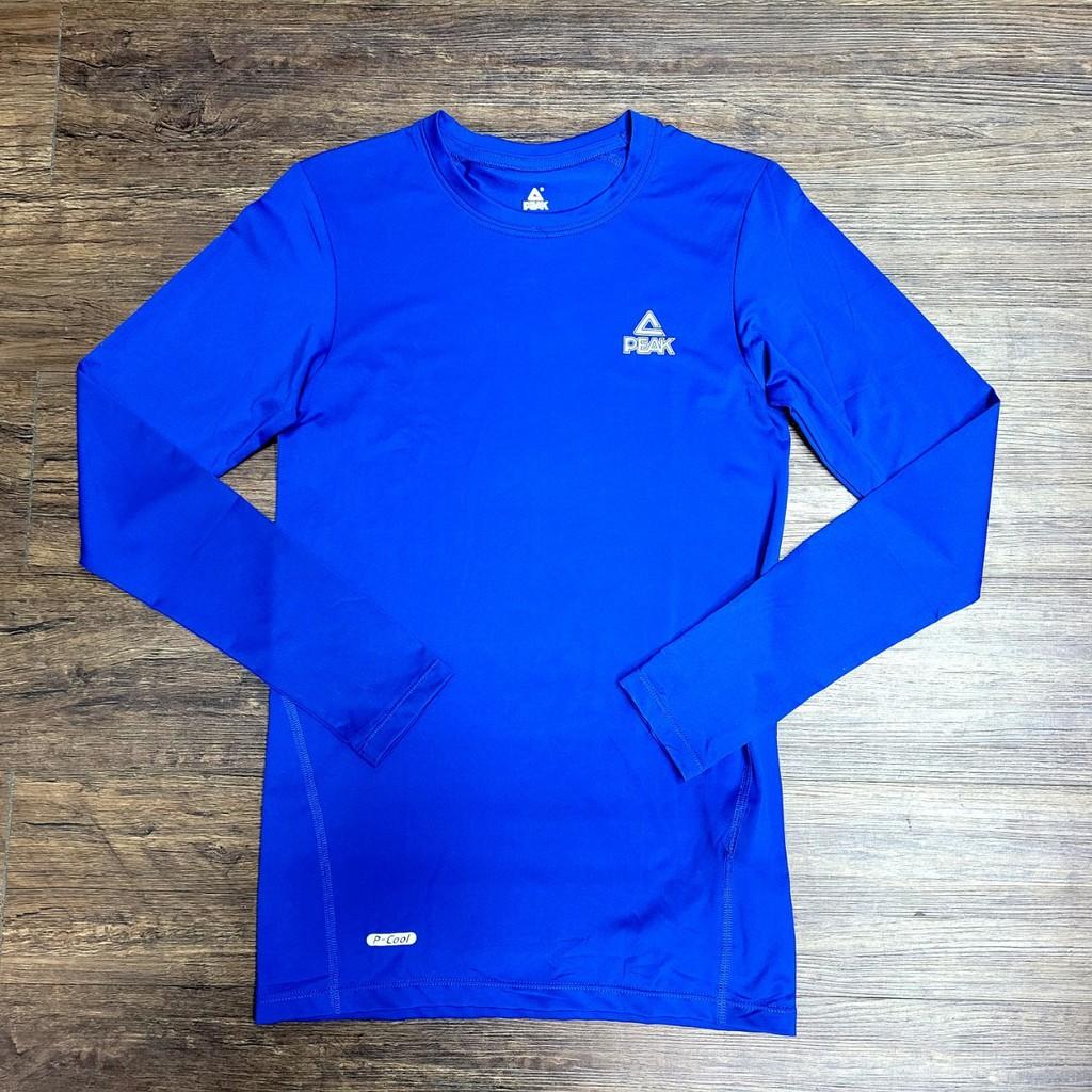PEAK 專業運動機能緊身長袖T恤 藍 亮禹體育PEAK經銷商