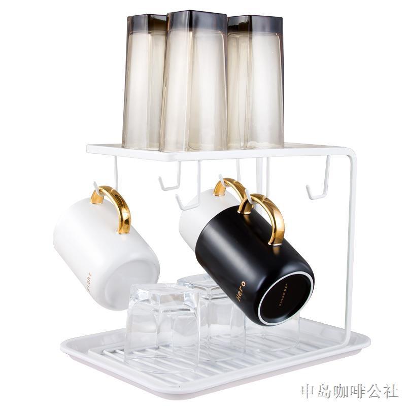 ▼☂咖啡杯架歐式雙層白色家用倒掛瀝水架收納水杯架子晾曬茶杯置物架