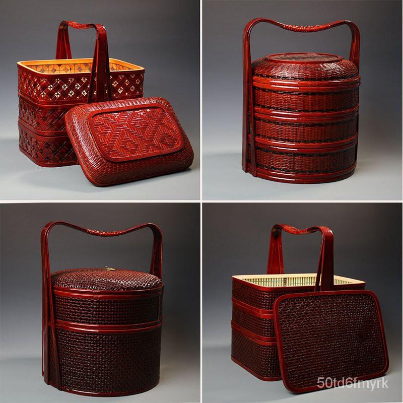 熱銷#竹編仿古大提籃月餅籃送飯籃水果籃竹製大食盒紅色婚慶大禮品籃