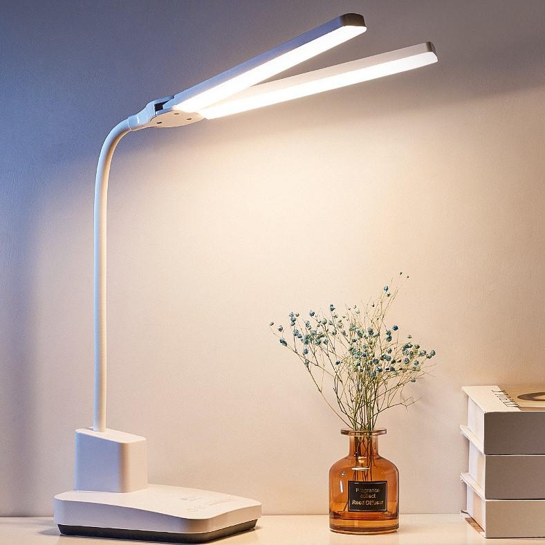 雙頭LED檯燈護眼書桌學生宿舍學習專用充插兩用三色可調折疊