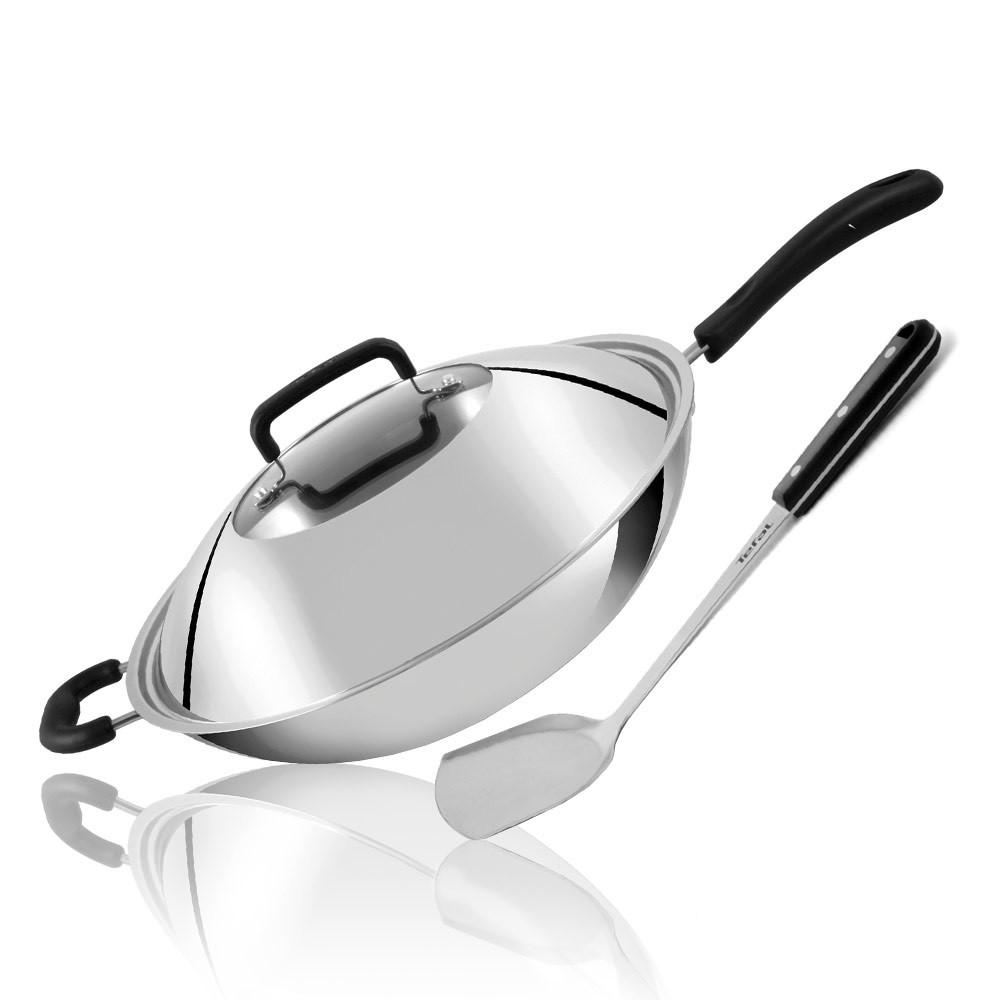 【法國特福Tefal】多層鋼單柄炒鍋(附鍋蓋+鍋鏟)《WUZ屋子》